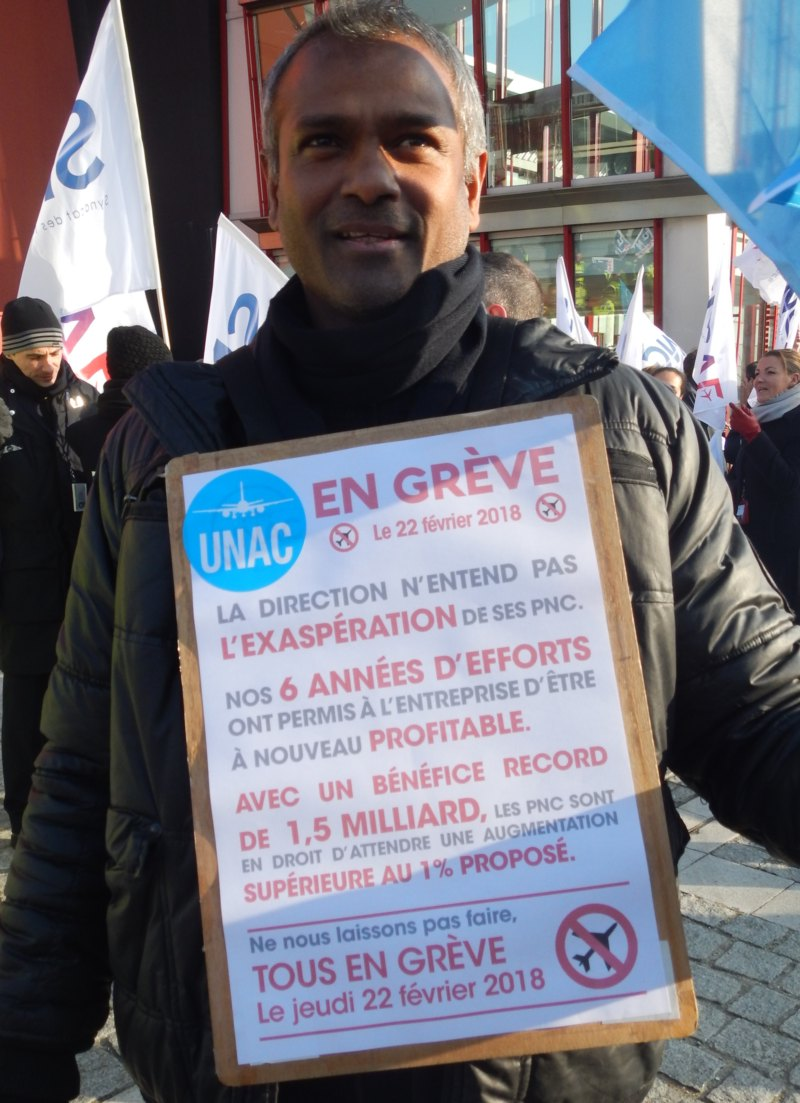 greve air france UNPC UNAC  22 fevrier 2018