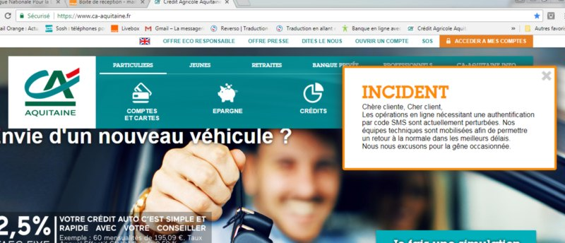 incident informatique credit agricole