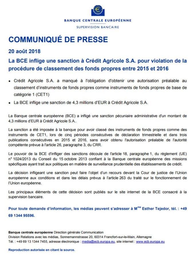 f6349effe7 La BCE a annoncé le 20 août 2018 avoir infligé une sévère amende de 4,