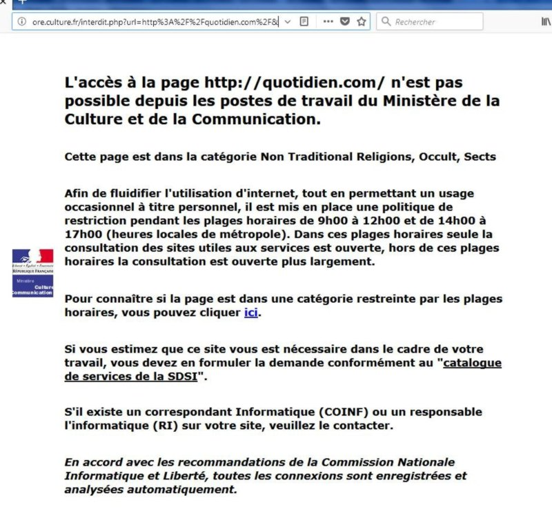 censure du site quotidien.com