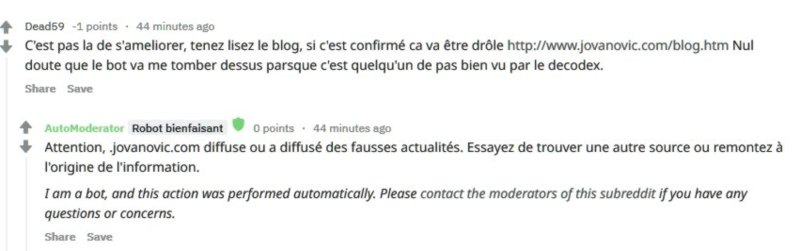 censure du site de pierre jovanovic par reedit