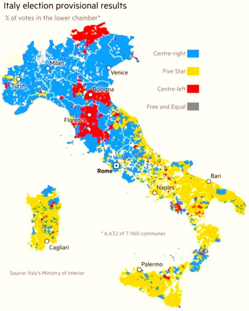 l'italie divisee en 2018