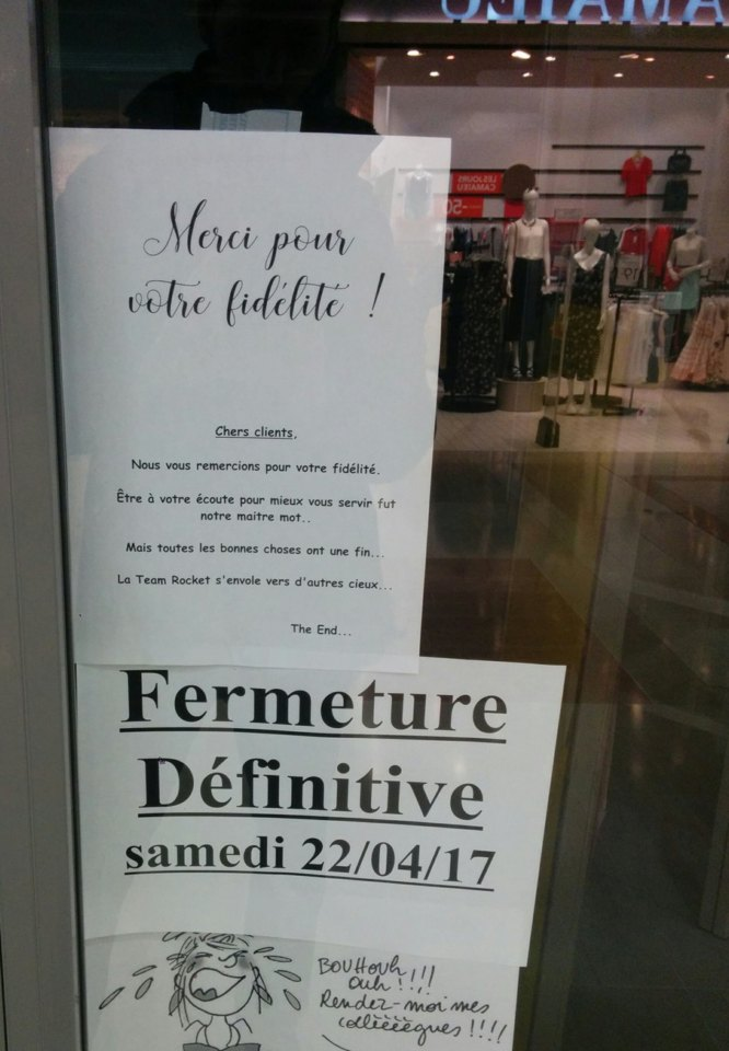 fin d'un commerce